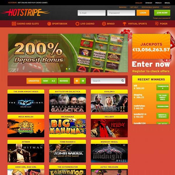 Hotstripe Casino ofrece una enorme cantidad de juegos en línea